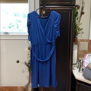 New York Collection blue wrap around dress